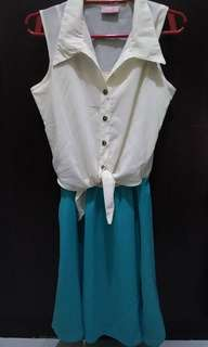 Cream and Turquoise dress