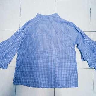 Ruffle Checkered Blue Top (Inspired Zara)