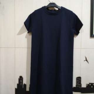 Dress Flare Biru Navy