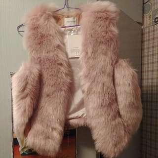 粉紅毛毛背心外套