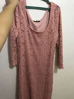 Pink lace casual dress