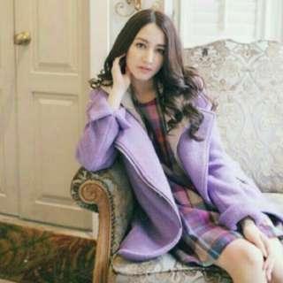 🚚 紫色針織外套(帽可拆)