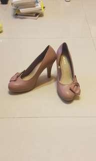 🚚 紫藕色蝴蝶結高跟鞋