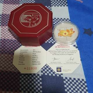 2007 SINGAPORE MINT YEAR OF TGE BOAR $10 COLOR SILVER PIEDFORT COIN, NO OUTER BOX