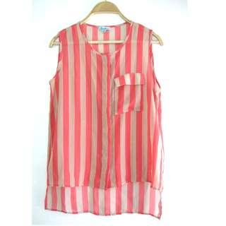 US Peach Stripe Sleeveless
