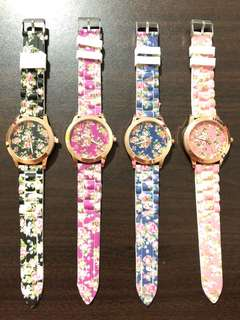 Floral Print Silicon Rubber Strap Watches