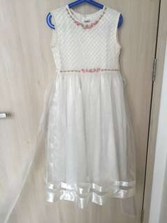 Embroidered long dress with pearls and handmade flowers.  Fully lined with kenken.