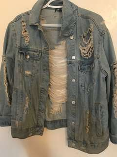 Ripped jean jacket from top shop