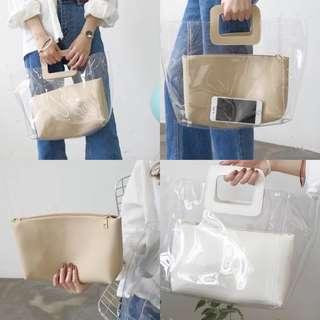 🚚 韓版 ins風今夏流行透明小方包子母包 手提包 預購