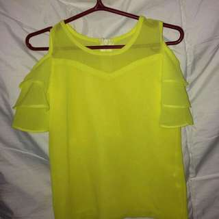 Yellow semi off-shoulder blouse