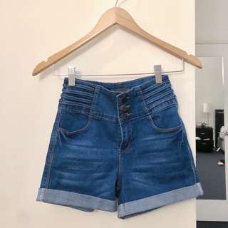 Blue high waisted denim shorts