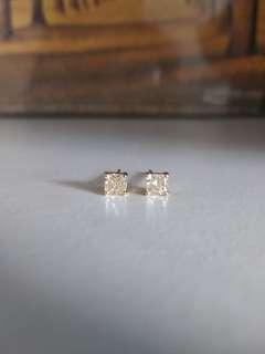 18k黃金白金黃鑽石耳環 52份 yellow diamond gold earrings