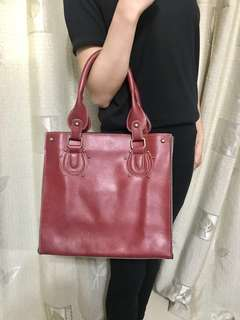 Dark Red PU-leather Bag 棗紅色PU皮實用袋