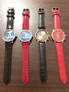 Moon and Classic Design Leather Strap Watches