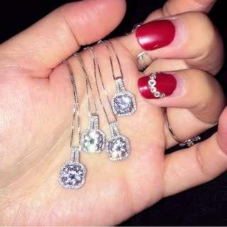 Simple new geometric square zircon diamond pendant 925 sterling silver necklace