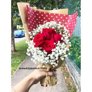 Fresh Flower Bouquet red roses with white baby's breath hand bouquet