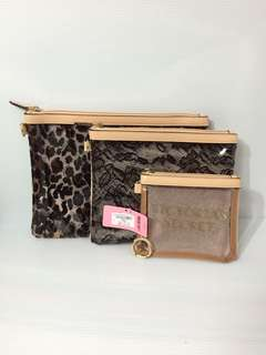 ❤️ Authentic 3pcs Leopard Print Pouch Small / Medium / Large by Victorias Secret