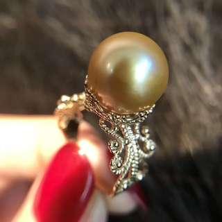 18K厚金復古鏤空雕刻皇冠👑金珠戒指