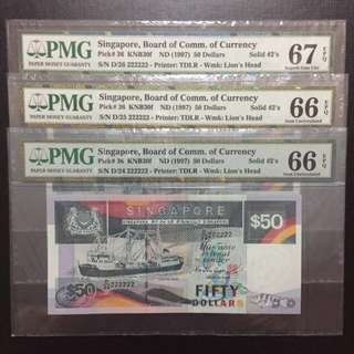 Running Prefix Solid 222222 Singapore $50 Ship Series Notes (PMG66-67EPQ)