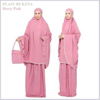 Plain Dusty Pink Telekung