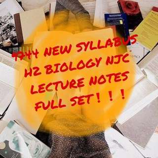 NJC H2 BIOLOGY LECTURE NOTES