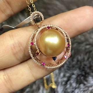 天然色南洋金珠吊墜.18K➕金鑽石彩寶.皮光細膩,濃金.13.7mm.特價💰9800