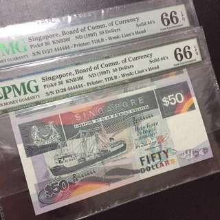 Running Prefix Solid 444444 Singapore $50 Ship Series Notes (PMG 66EPQ)