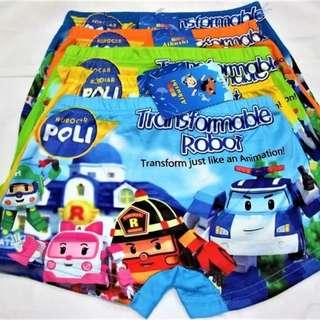 6for$12 Robocar Poli Boxer Underwear Panties