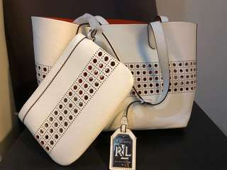 RL White Bag with Pouch