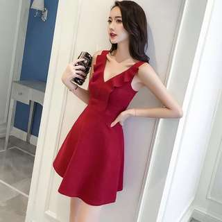 Korean style Red Halter Dress slim V collar