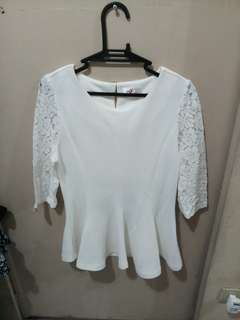 REPRICED! White Peplum Blouse