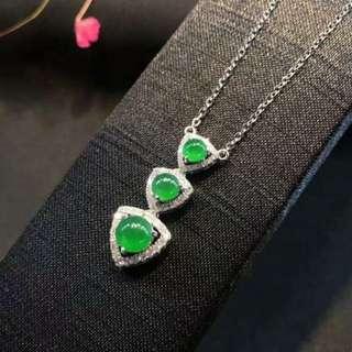 🍀緬甸包A冰陽綠鑲鑽頸鏈🍀