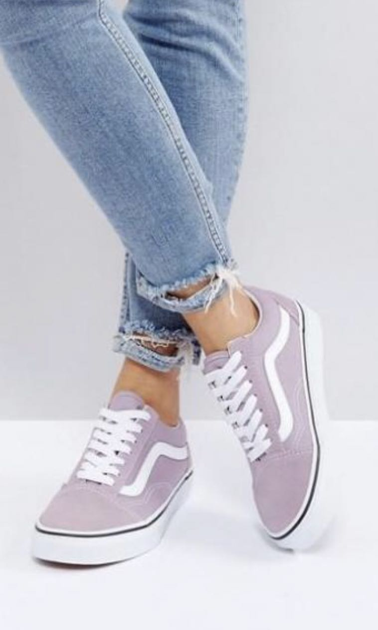 f9fbc3c66c3 Authentic old skool vans classic sneaker in lilac sea fog white ...