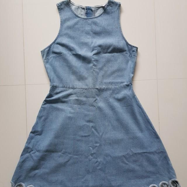 BN Scallop Hem Denim Dress