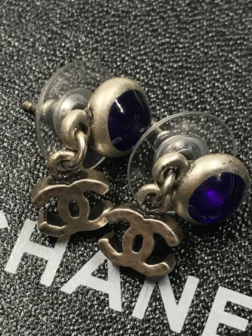 Chanel 少有藍色 寶石吊墜耳環 全新購自意大利