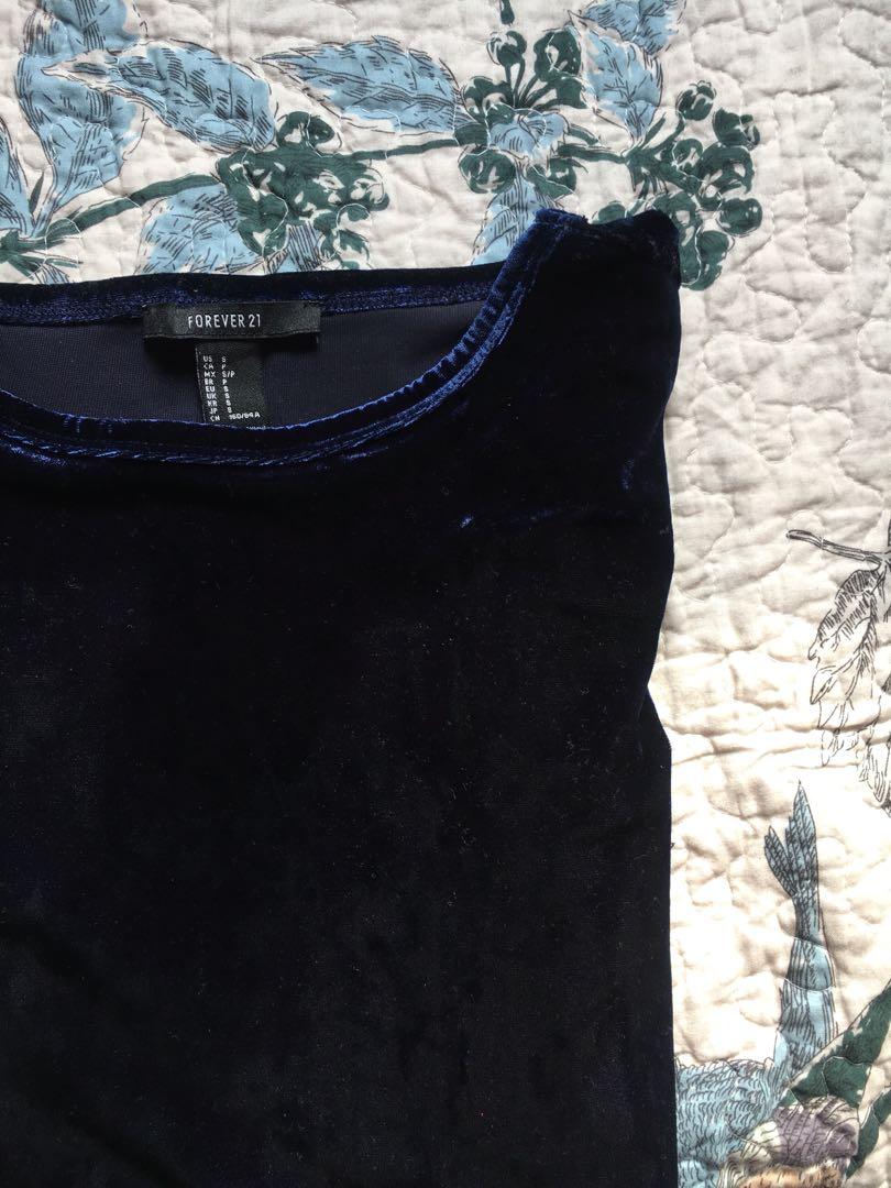 F21 Navy Blue Velvet Long Sleeve