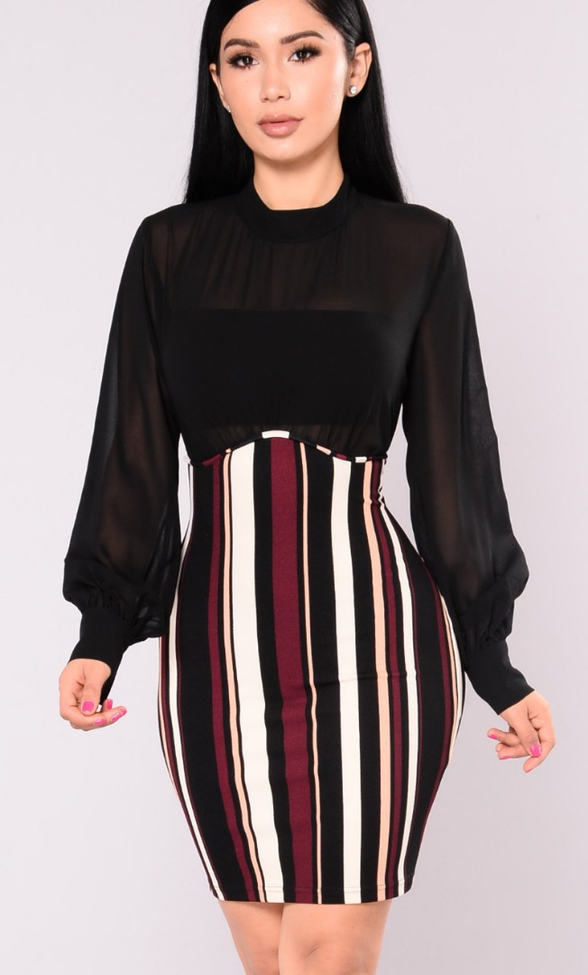 FashionNova Amie Striped Dress MEDIUM
