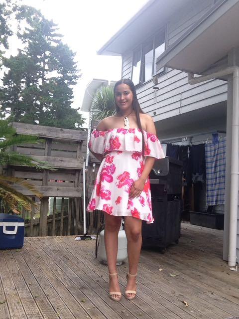 Floral. Off shoulder dress