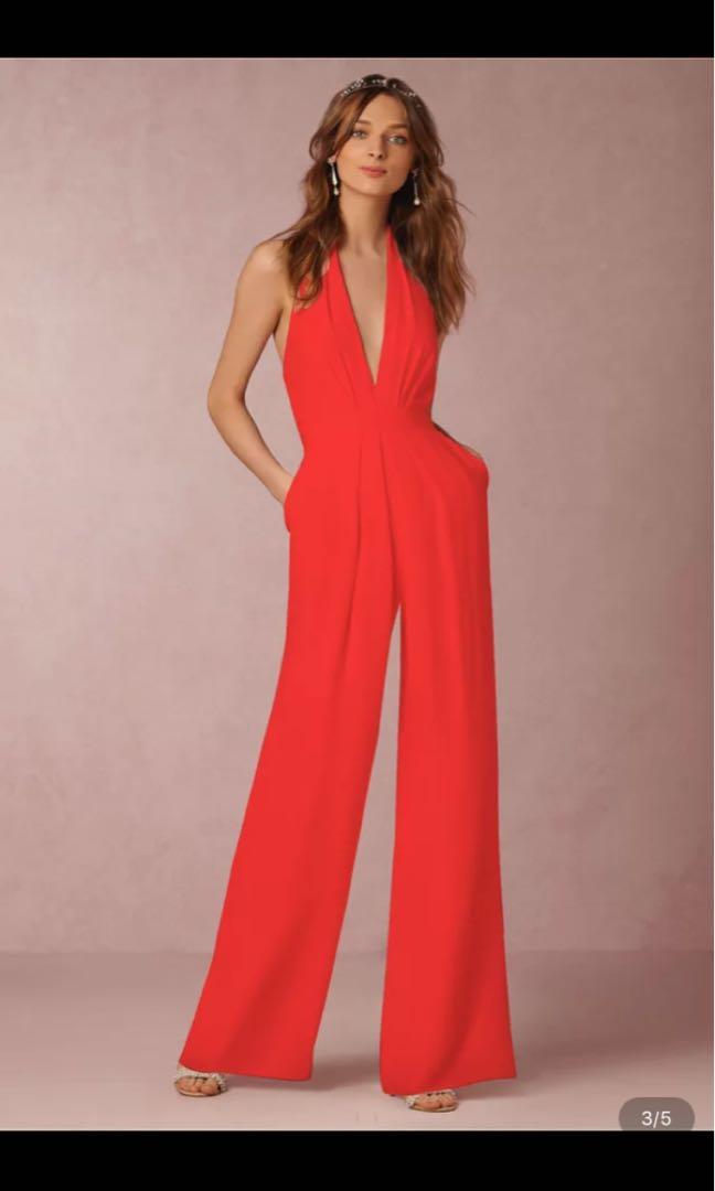 8562d1d85c25 Halterneck deep v neck jumpsuit size m available in red colour only ...