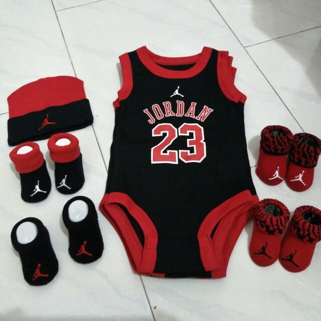 b9c5c6e455a29c Jordan infant newborn romper sleeveless set booties beanie 0 6 ...