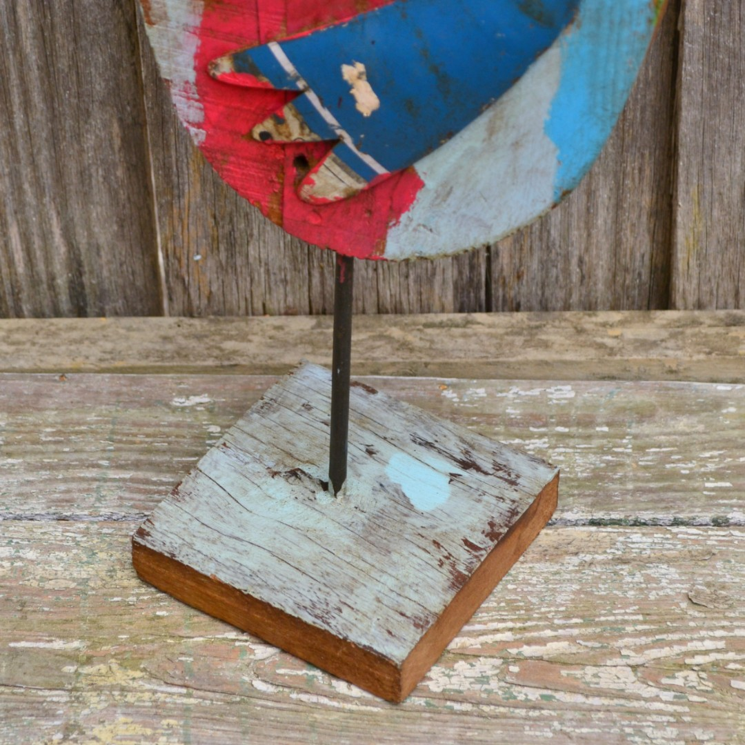 Large Hardwood Timber and Metal Rustic Rooster Statue