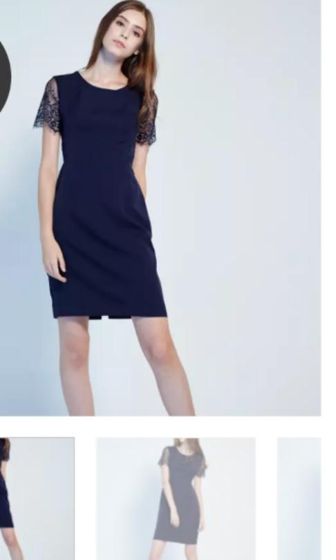 4fb141c0679f Lovengold - daryn lace sleeve dress in navy - xs, Women's Fashion ...