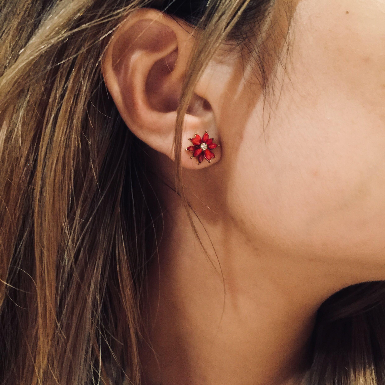 mini red flower studs