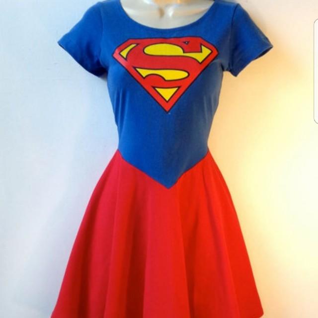 Superman Supergirl dress superhero halloween, Women\'s Fashion ...