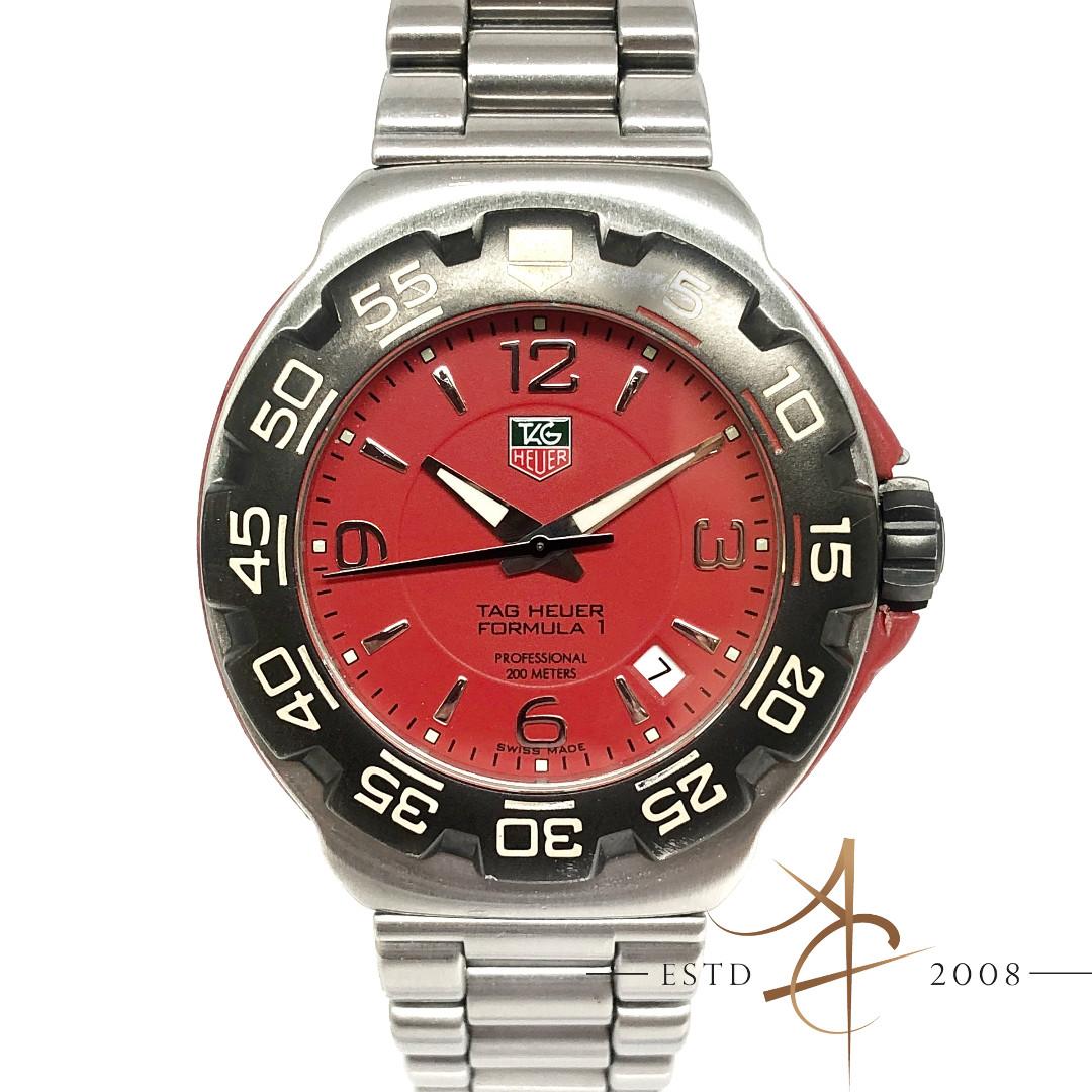 42ca75ac42e Tag Heuer Formula 1 WAC1113 Red Dial 41mm Quartz Watch