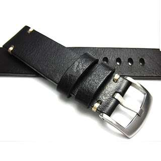 Black Cowhide Leather Watch Strap