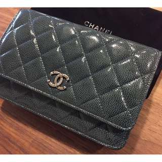 Chanel wallet on chain (woc) quilted with Hin green patent