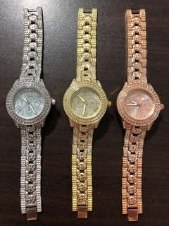 Metal Chain Links Strap Bling Cubic Zirconia CZ Watches
