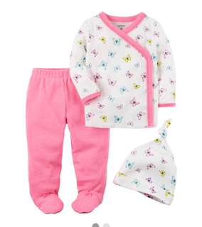 *3M* Brand New Carter's 3-Piece Footed Pant Set For Baby Girl