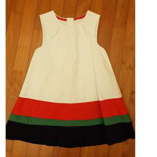 EEUC White Dress with Distinct Red Green Black at bottom 2T